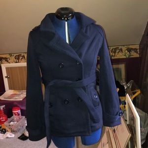 Ambiance blue cotton pea coat small; NWT